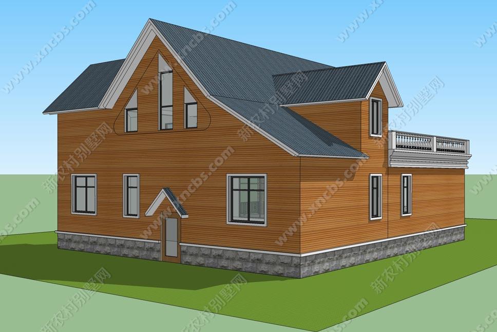 一层半两层带阁楼小别墅 附庭院内院子设计效果图