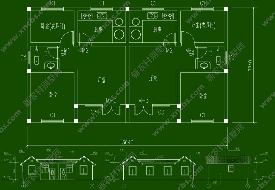 农村双拼房屋平房设计图展示