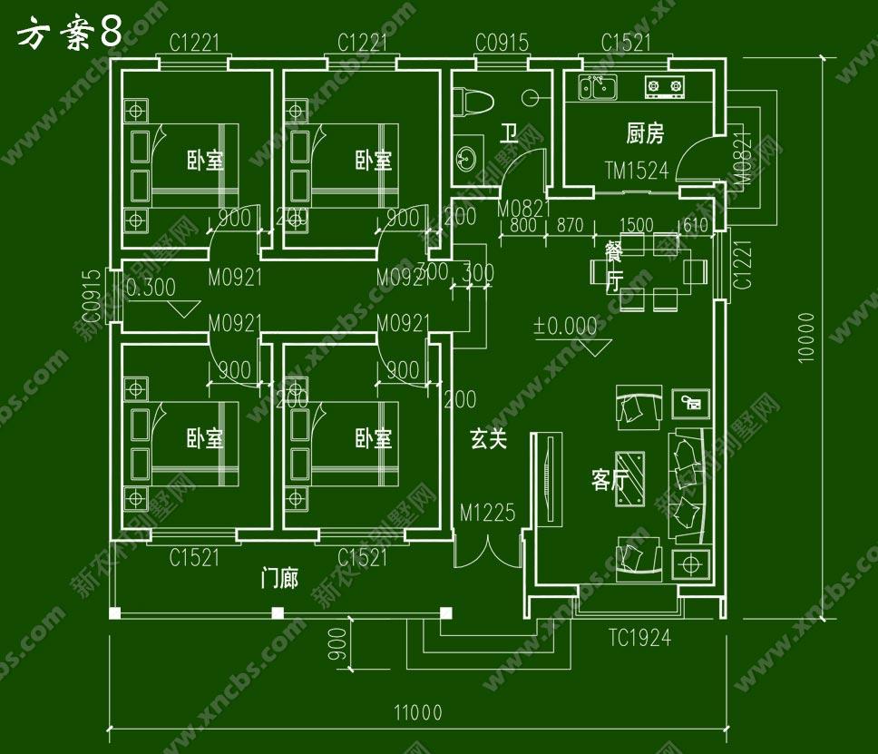一层农村房屋设计图 单层自建房效果图及平面图,农村平房全套图纸