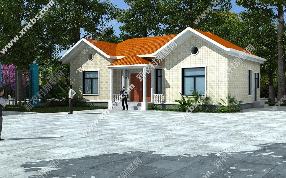 两头礼堂凸出、中间有门亭的一层房子设计图_温州市外观农村文化建筑设计大赛图片