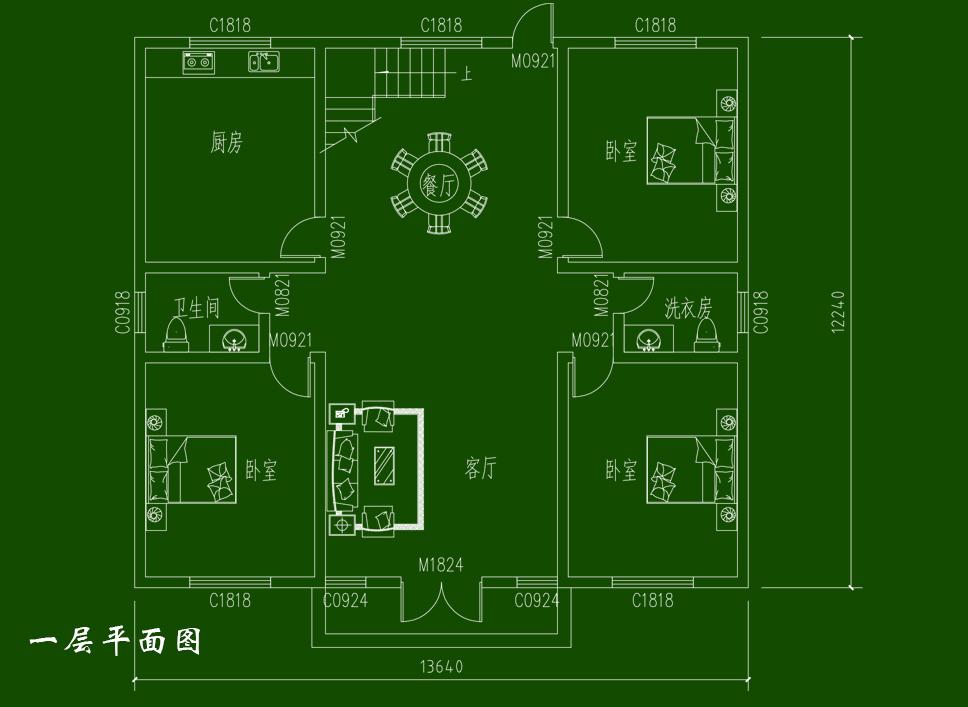 农村房屋设计图 带阁楼乡村一层房子全套设计图纸