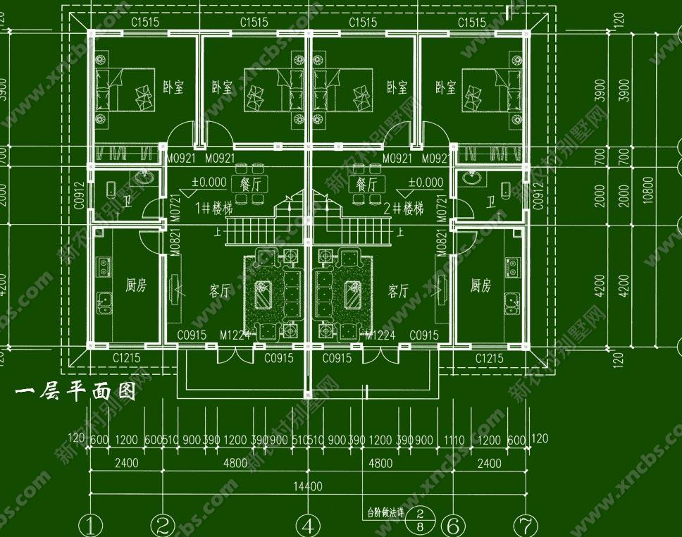 微派建筑外观双层农村房屋设计图