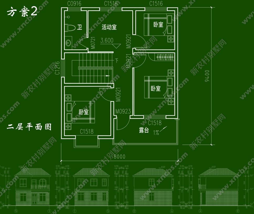 户型紧凑,布局合理的两层自建房设计图