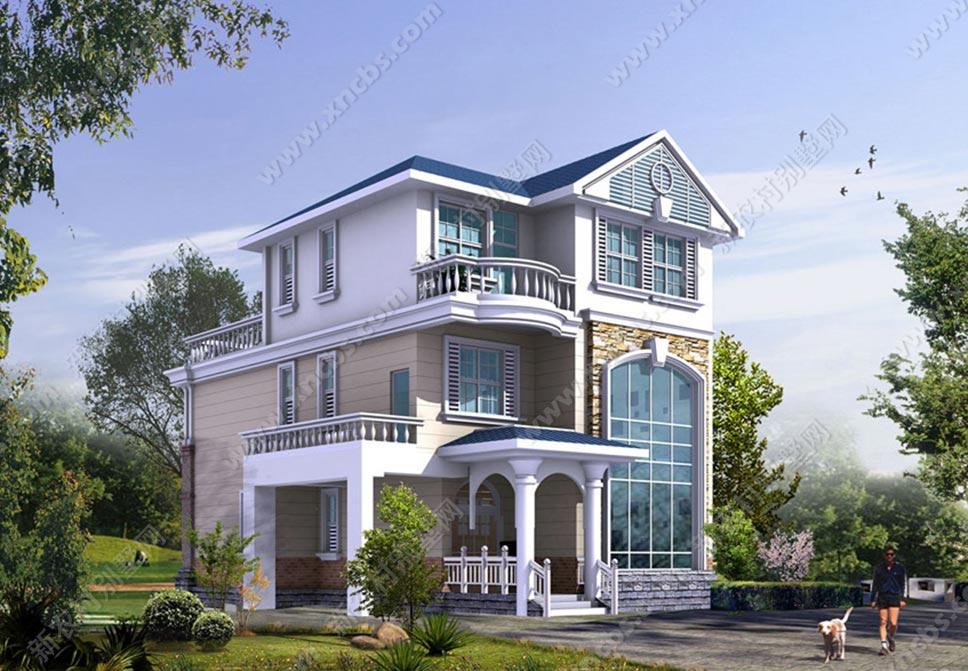 三层新农村小别墅设计图 农村楼中楼设计效果图