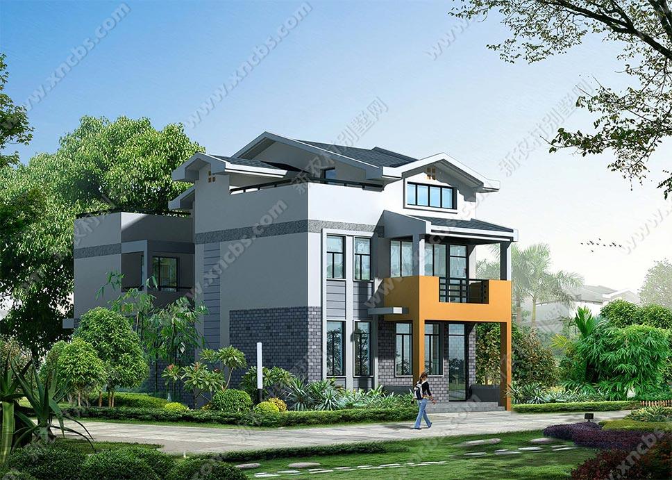 带车库三层农村别墅图片 漂亮的乡村三层房子平面图片