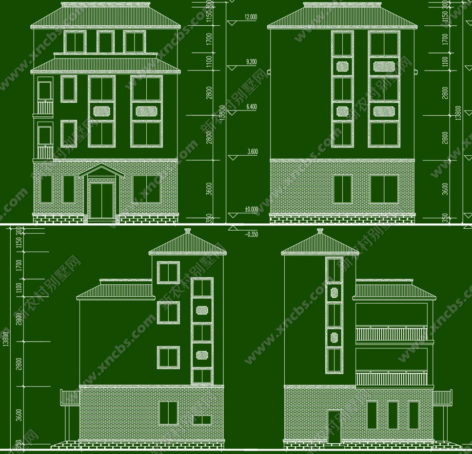 乡下四层楼房效果图,户型设计图
