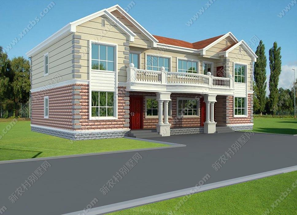 两层双拼楼中楼房子效果图及施工图_新农村别墅网