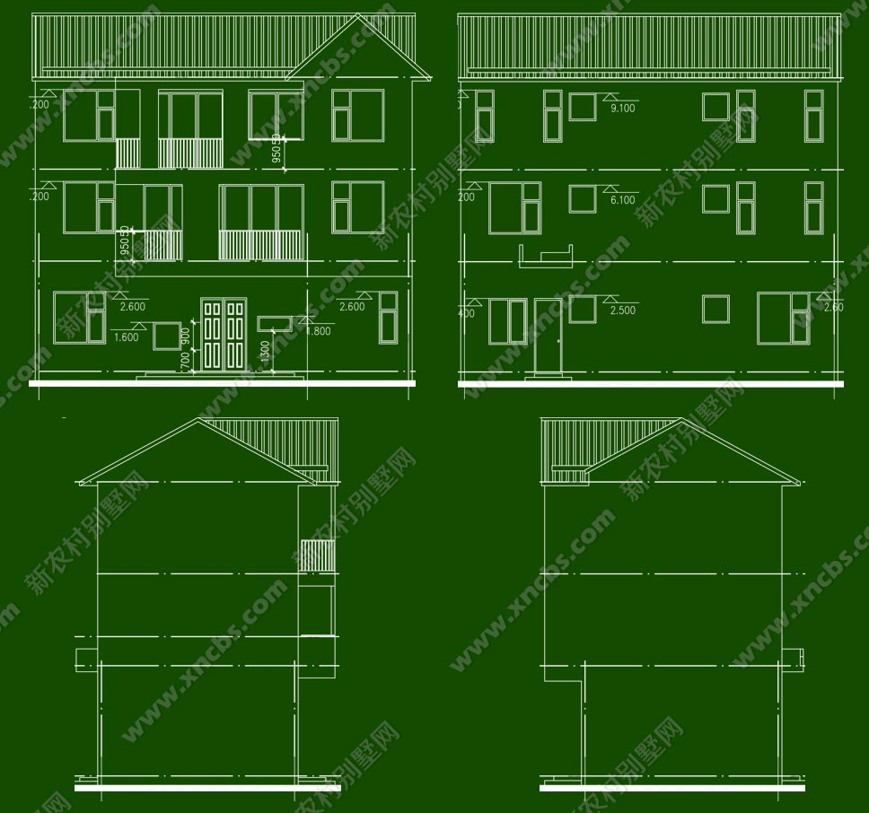 长方形农村房屋户型设计平面图及建施图