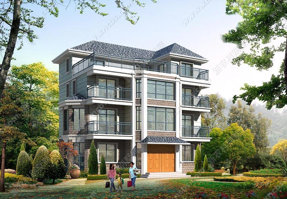 农村盖房子相关建筑图 三层半楼房外观设计