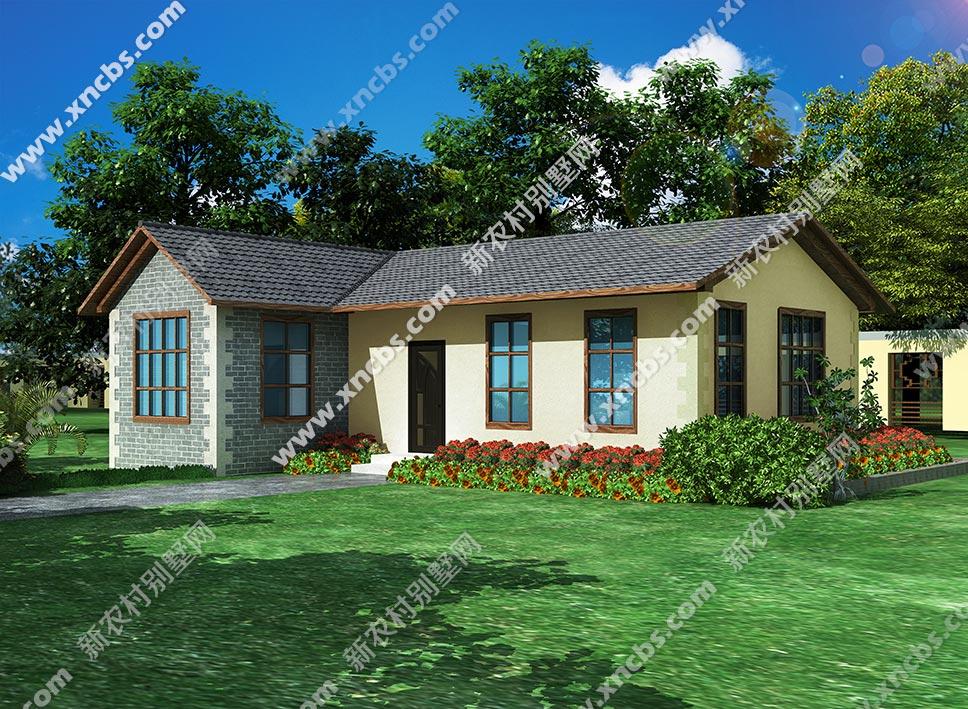 一层别墅外观设计图_一层小户型民宿外观效果图 1室1厅侧房、附属房设计方案图_新 ...